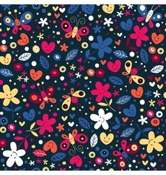 Cute butterflies hearts and flowers pattern 2 vector