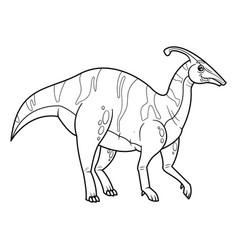 cute cartoon dinosaur parasaurolophus character vector image