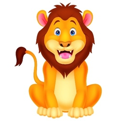 Cute lion cartoon sitting vector image