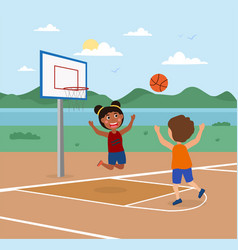 cute little kids are playing basketball on a court vector image