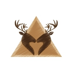 Deer emblem icon image vector