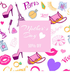discount banner for mothers day with ladies vector image