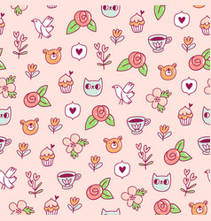Doodle bear cat and a bird pattern vector