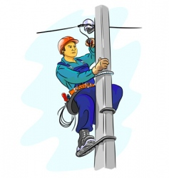 Electrician on a pylon vector