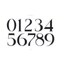 elegant numbers font on white background vector image