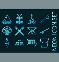 fishing set icons blue glowing neon style vector image
