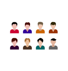flat men with different hairstyle avatar icons set vector image