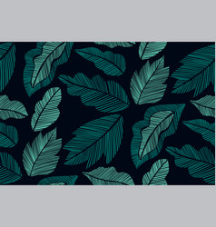 floral seamless pattern with leaves hand drawn vector image