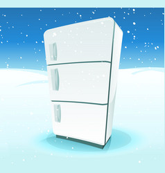Fridge inside north pole landscape vector