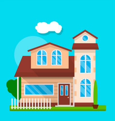front of cute house vector image