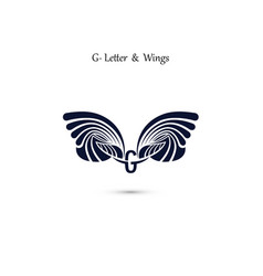 g letter sign and angel wings monogram wing logo vector image