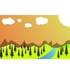 green landscape of sunny vector image