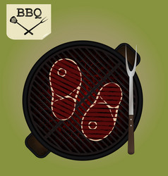 grilling steaks on grill - top view vector image