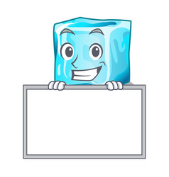 Grinning with board ice cubes shape on cartoon vector