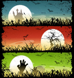 halloween backgrounds set vector image