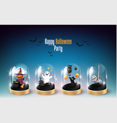 Halloween character element design in glass dome vector