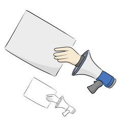 Hand businessman from megaphone holding blank vector