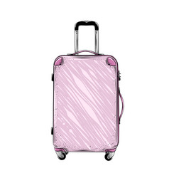 Hand drawn sketch of suitcase in pink color vector