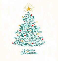 Handwritten words in christmas tree shape vector