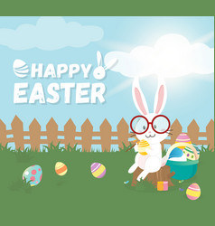 Happy easter greeting cardcute bunny vector