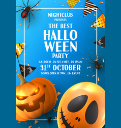 happy halloween party flyer vector image