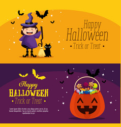 happy halloween set cards vector image