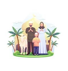 Happy muslim family celebrates eid al adha vector