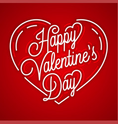 happy valentines day vintage linear on red vector image
