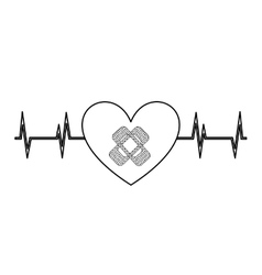 heart with bandages isolated icon design vector image