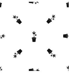 hemp in pot pattern seamless black vector image