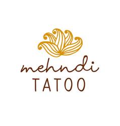 Henna mehndi drawing ethnic tatoo studio logo vector