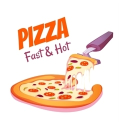 hot pizza on white vector image