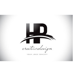 hp h p letter logo design with swoosh and black vector image