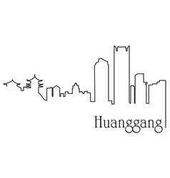 huanggang city one line drawing vector image