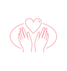 human hands with heart flat in vector image