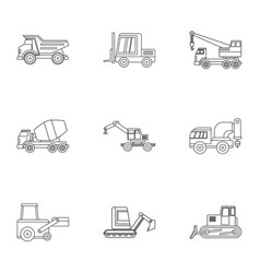 Industrial vehicle icon set outline style vector