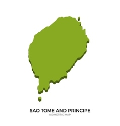 Isometric map of Sao Tome and Principe detailed vector
