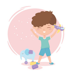 kids zone cute little boy with plane and elephant vector image