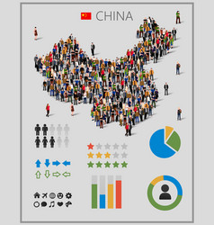 large group of people in china map with vector image