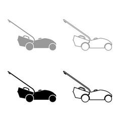 Lawn mower icon outline set grey black color vector