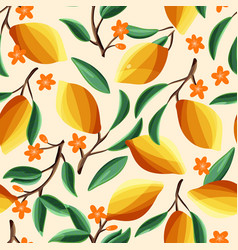 lemons on tree branches seamless pattern vector image