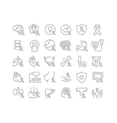 Line icons cancer survivors day vector