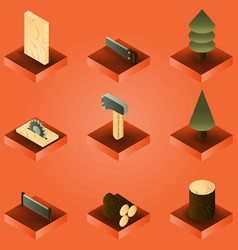 lumberjack color gradient isometric set vector image