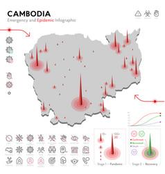 Map cambodia epidemic and quarantine emergency vector