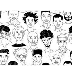mens head seamless pattern background grunge line vector image