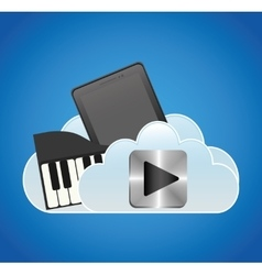 Mobile music smartphone cloud piano vector