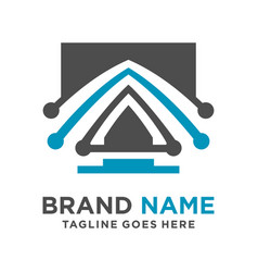 monitor logo initials vector image