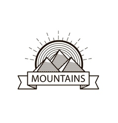 Mountains line hipster logo icon badge vector