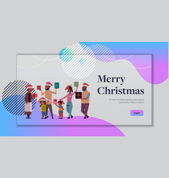 multi generation family with gift boxes standing vector image