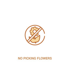 No picking flowers concept 2 colored icon simple vector
